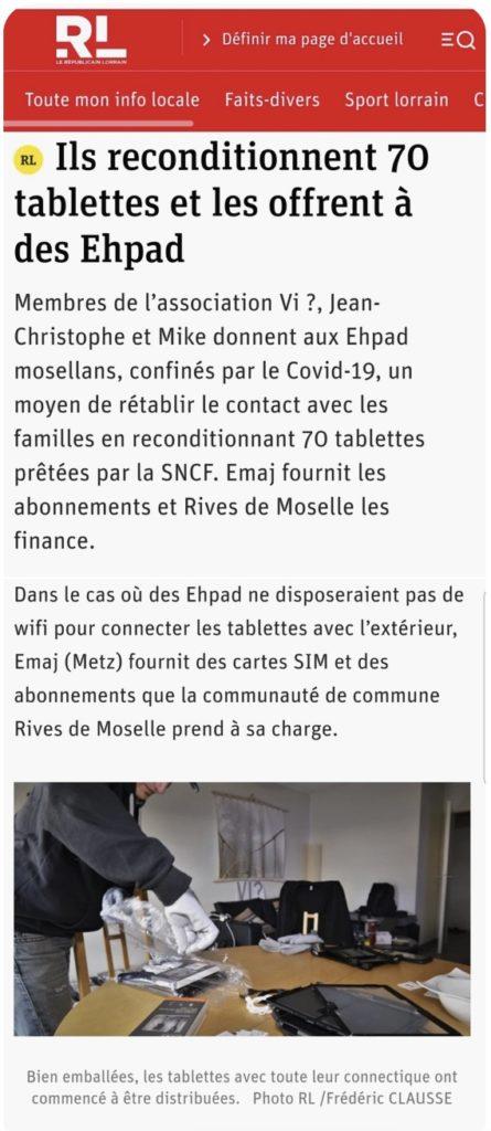 L'association Vi? et E-maj s'associent pour les EHPAD des Rives de Moselle
